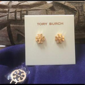 Tory Burch Shiny Gold-Tone Logo Stud Earrings